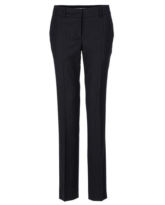 dames pantalon donkerblauw krijtstreep