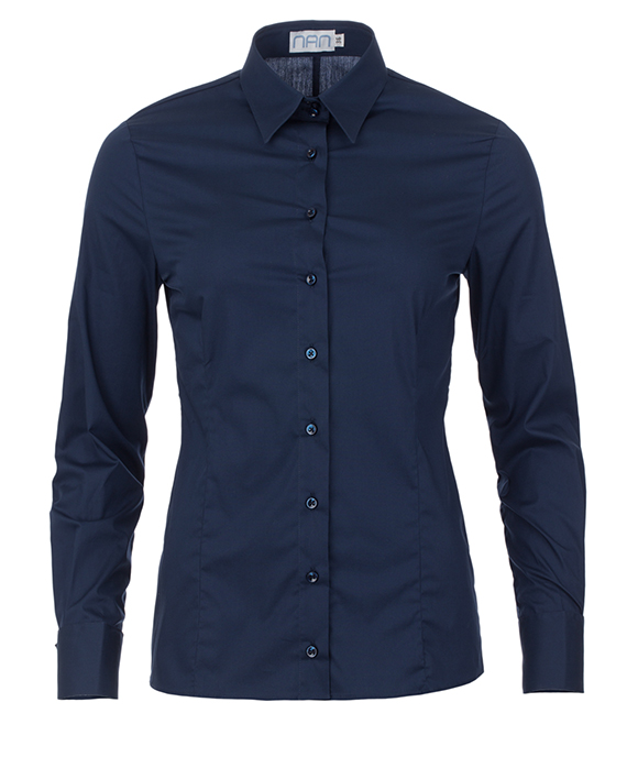 dames blouse donkerblauw met dubbele manchet