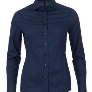 donkerblauwe dames blouse met enkele knoop