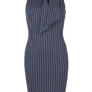 blauwe zakelijke jurk krijtstreep met strik