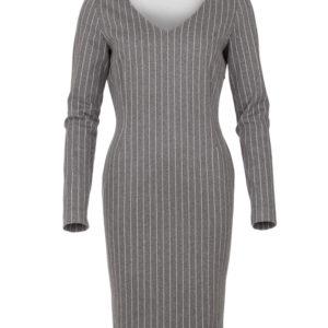 grijze v-hals jurk met krijtstreep