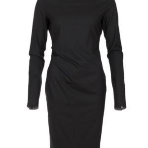 zwarte zakelijke jurk met omslag