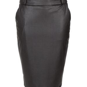 zwart fake leather dames rok met steekzakken