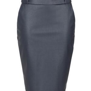 donkerblauw fake leather rok met steekzakken