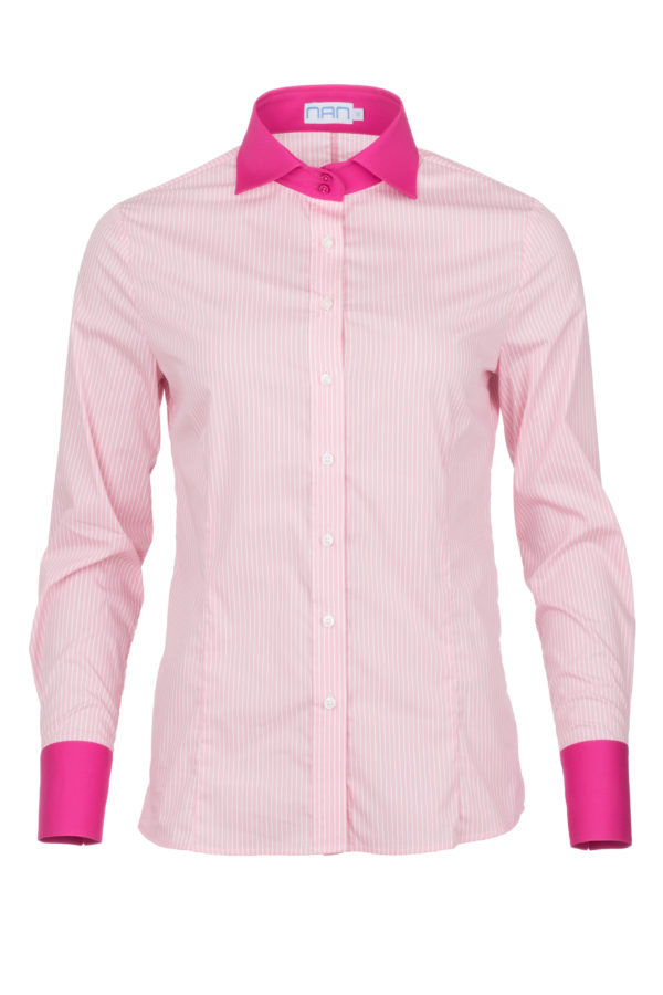 dames blouse roze krijtstreep met enkele knoop