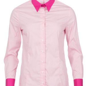 dames blouse roze krijtstreep met dubbele manchet
