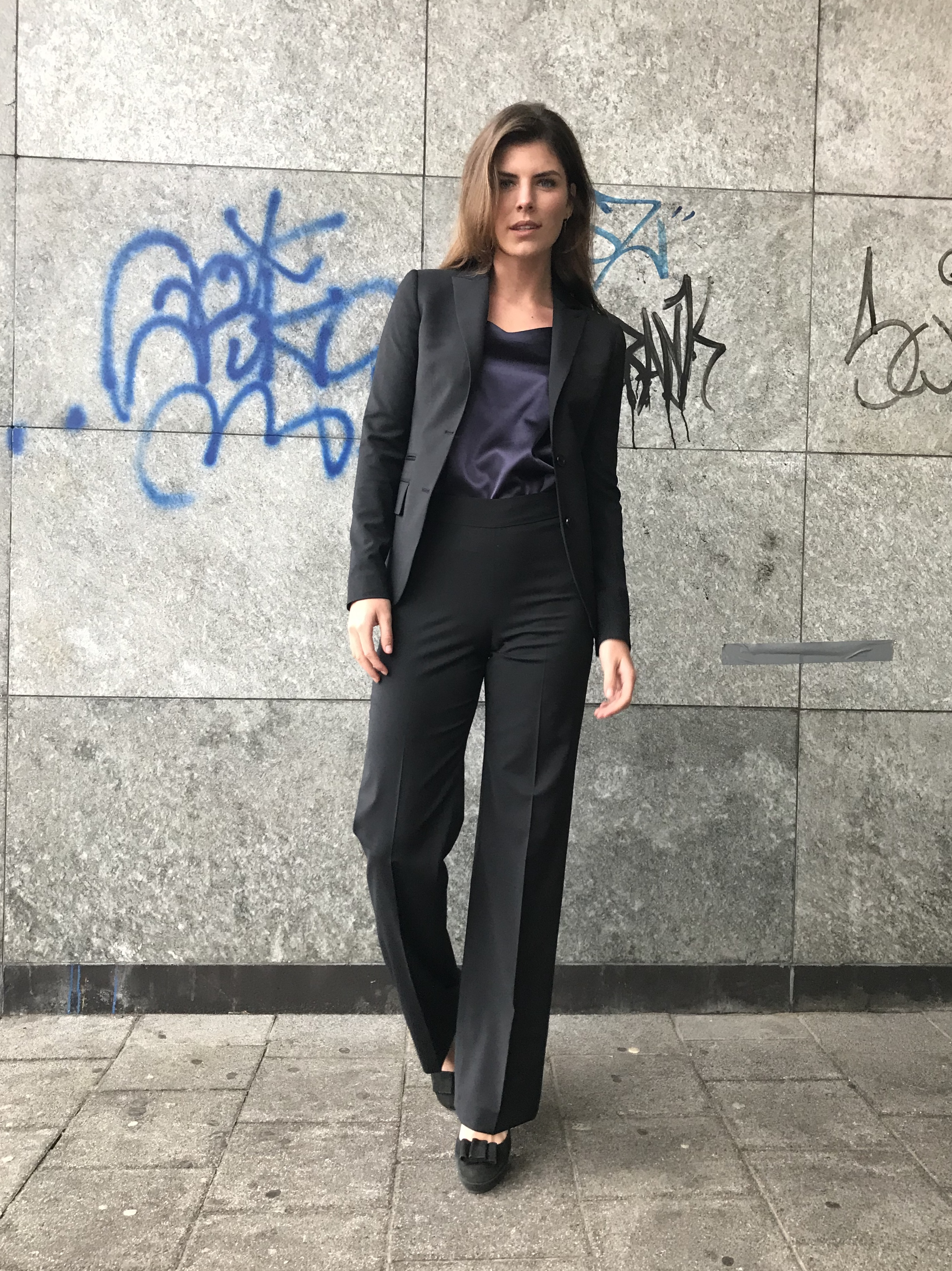 Fonkelnieuw Dames pak zwart flared pantalon FY-19