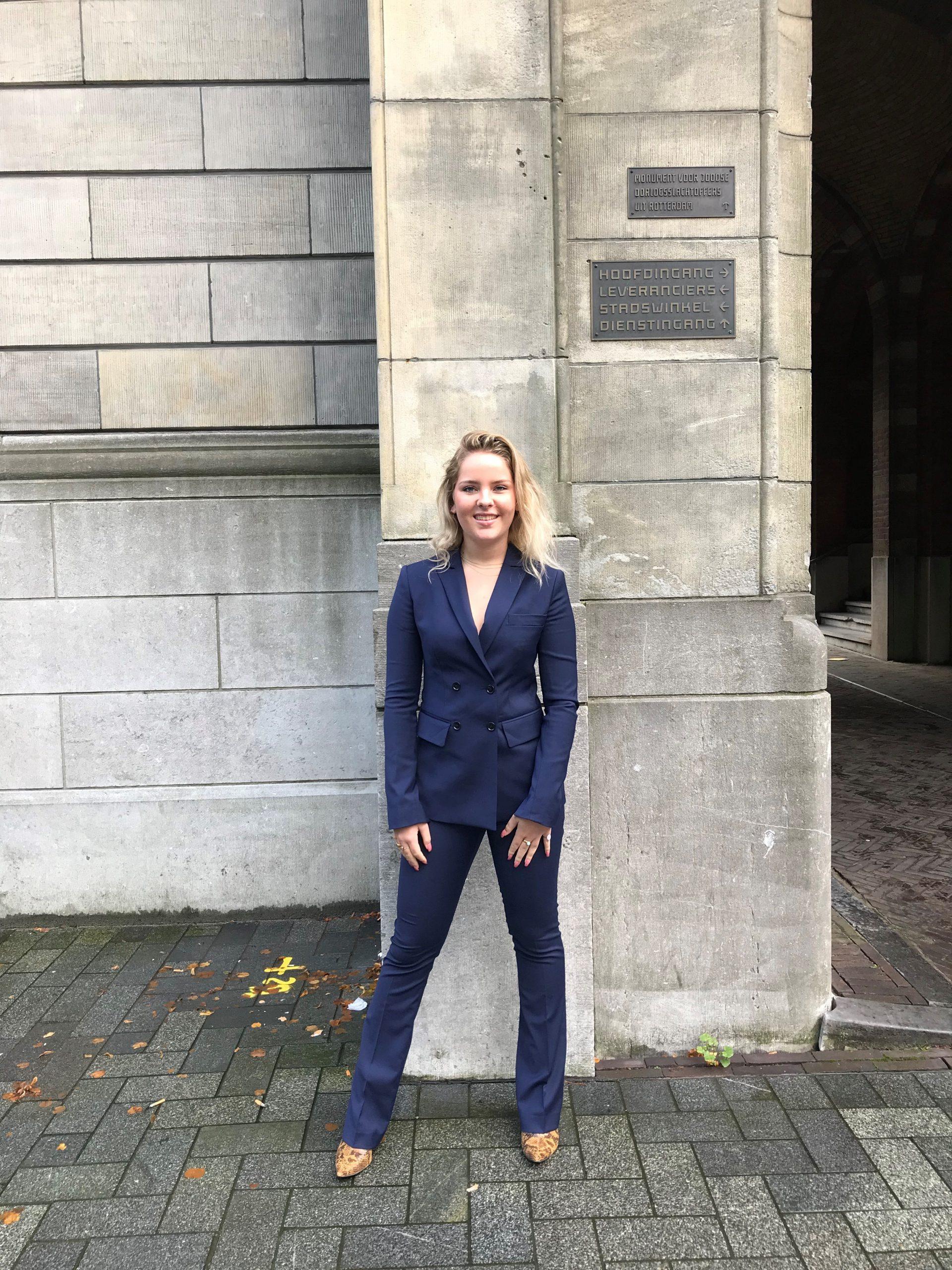 donkerblauw dames pak met bootcut pantalon