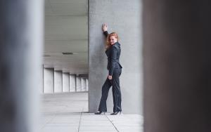 pinstripe black suit